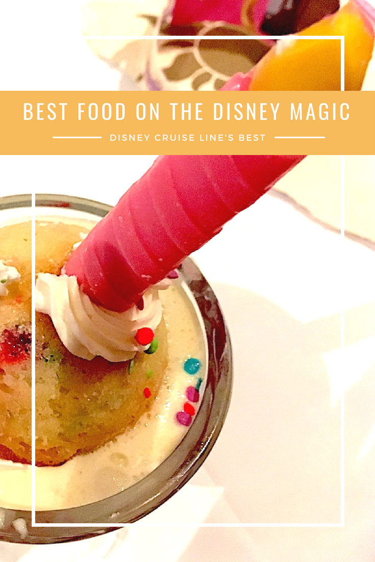 Best food on board the Disney Magic, from main plates to finger food, you will want to order those mouthwatering dishes!!