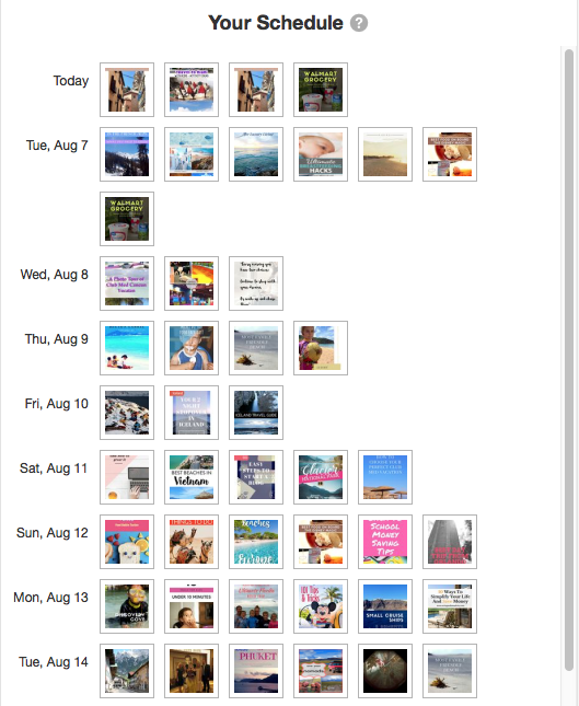 Example of my personal schedule on Tailwind for the next few days #Tailwind #Pinterest #PinterestSuccess #GrowPinterest