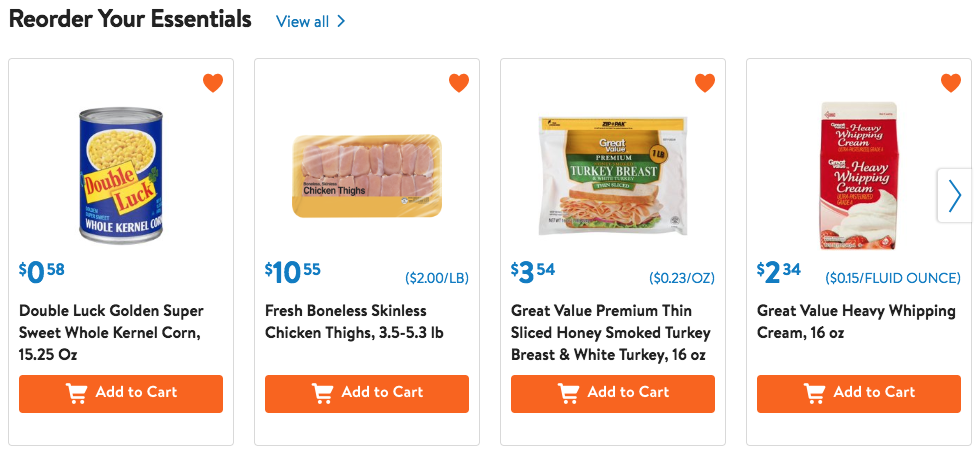 Walmart Grocery: Favorite the items you shop often for easy and quick shopping every week